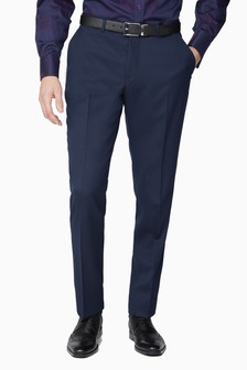 Jeff Banks Blue Soho Plain Front Suit Trousers
