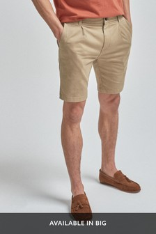 Slim Pleat Stretch Chino Shorts
