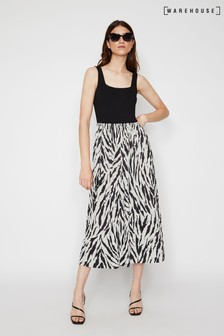 Warehouse Animal Zebra Vest Pleated Midi Dress