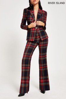 River Island Tartan Holly Flare Trousers