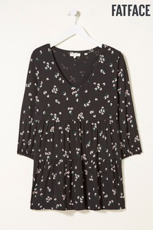 FatFace Black Margot Floating Bloom Longline Top