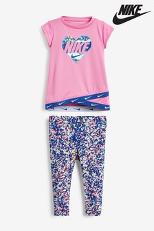 Nike Infant Pink Regrind Print T-Shirt And Leggings Set