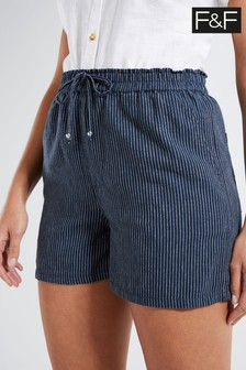 F&F Navy Linen Blend Stripe Shorts