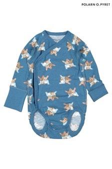 Polarn O. Pyret Blue GOTS Organic Animal Friends Bodysuit