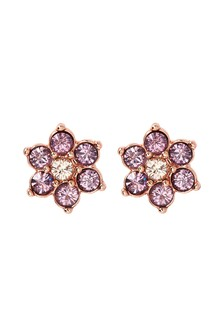 Pink And Yellow Sparkle Flower Stud Earrings