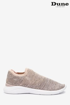 Dune London Nude Easy Slip-On Blush Fabric Knitted Trainers