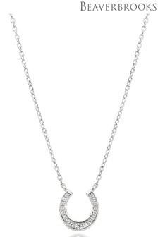 Beaverbrooks Silver Cubic Zirconia Horseshoe Necklace