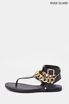 River Island Black Wide Fit Chain Gladiator Shoes
