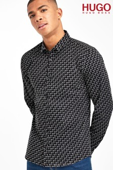 HUGO Black Ero All Over Signature Shirt
