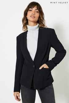 Mint Velvet Black Slim Twill Blazer