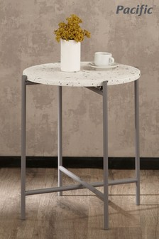 Pacific White Terrazzo And Matt Grey Large Metal Table