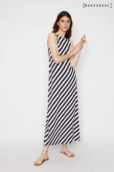 Warehouse Blue Diagonal Stripe Maxi Dress