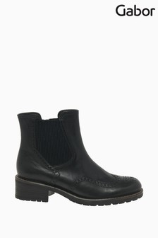 Gabor Imagine Black Tucson Leather Fashion Ankle Boots