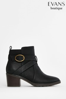Evans Extra Wide Fit Rouched Low Ankle Boots