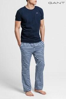 Pijama henley con pantalones de franela en blanco de GANT