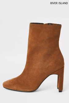 River Island Beige English Suede Block High Boots