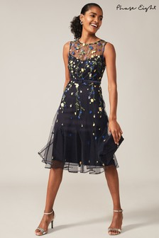 Phase Eight Blue Esmeralda Embroidered Fit & Flare Dress