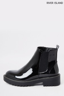 River Island Black Queen Chunky Patent Gusset Boots