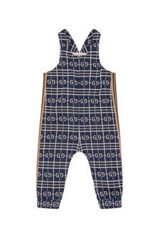 GUCCI Kids Baby Boys Navy Cotton Overalls