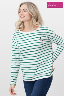Joules Cream Marina Print Dropped Shoulder Jersey Top