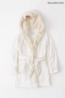 Abercrombie & Fitch White Faux Fur Robe