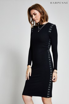 Harpenne Black Hook & Eye Rib Jersey Midi Dress