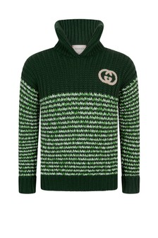 Boys Green Knitted Turtle Neck Jumper