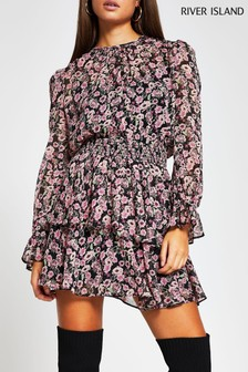 River Island Black Floral Shirred Tea Dress