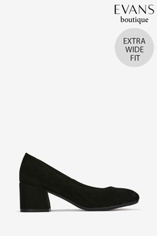 Evans Black Extra Wide Fit Block Heel Court  Shoes