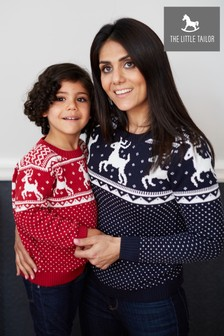The Little Tailor Navy Ladies Family Christmas Fairisle Pattern Jumper