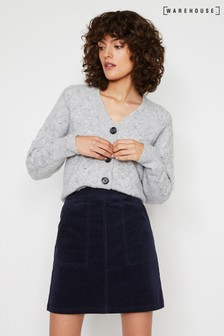 Warehouse Blue Cord Patch Pocket Mini Skirt
