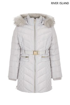 River Island Grey Longline Belted Quilted Padded Jacket