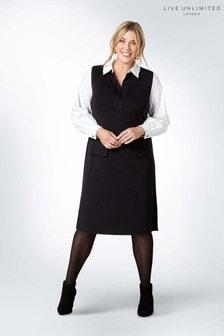 Czarna sukienka z tkaniny ponte z bawełnianym rękawem 2w1 Live Unlimited