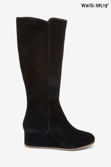 White Stuff Black Issy Wedge Long Boots