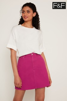 F&F Pink Fuchsia Denim Skirt