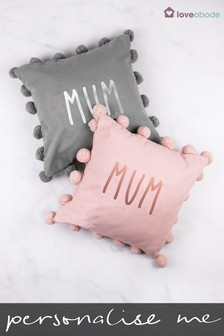 Personalised Mum Pom Pom Cushion by Loveabode