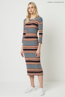French Connection Grey Tosca Stripe 3/4 Sleeve Dress
