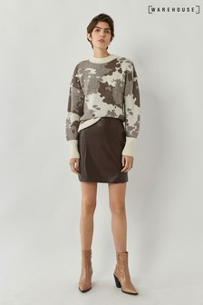 Warehouse Brown Faux Leather Seamed Mini Skirt