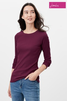 Joules Purple Grace Ribbed Jersey Top