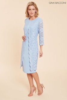 Gina Bacconi Blue Clarabelle Lace Dress