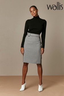 Wallis Black Mono Gingham Skirt
