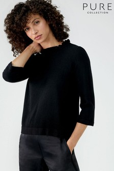 Pure Collection Black Ruffle Neck Sweater