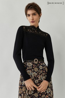 Warehouse Black Lace High Neck Jumper