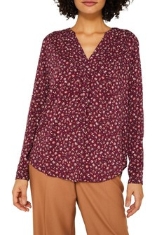 Esprit Red Viscose Long Sleeved Blouse With Flower Pattern