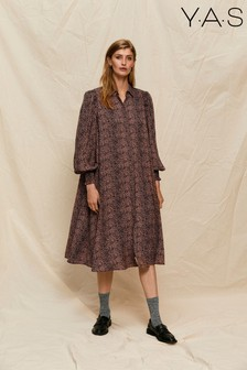 Y.A.S Sustainable Animal Print Slavio Midi Shirt Dress