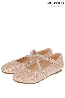 Monsoon Pale Pink Clemmie Glitter Cross Strap Ballerina