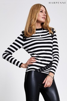 Harpenne Black/White Stripe Hook And Eye Rib Top