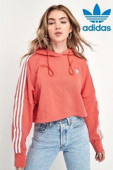 adidas Originals Red 3 Stripe Cropped Hoody
