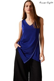 Phase Eight Blue Cornelia Bead Asymmetric Tunic