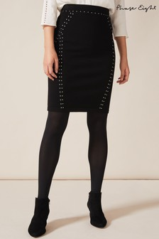 Phase Eight Black Sophie Stud Detail Skirt
